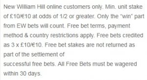 william hill sport promo T&C