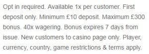 william hill casino promo T&C