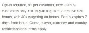 william hill games promo T&C